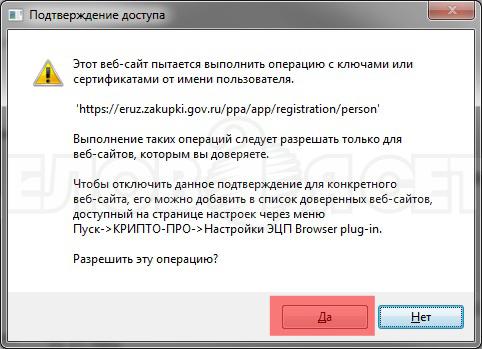 подтверждение действия с ключами электронной подписи