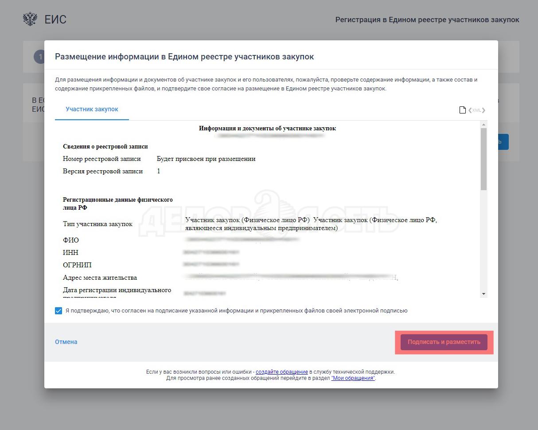Информация об участнике закупок подписать сертификатом электронной подписи
