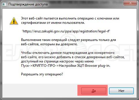 Окно КриптоПро, вызванное использованием сертификата электронной подписи. Нажмите кнопку «Да»